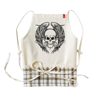 Grinning Tattoo Skull and Wings with Tribal Zazzle HEART Apron