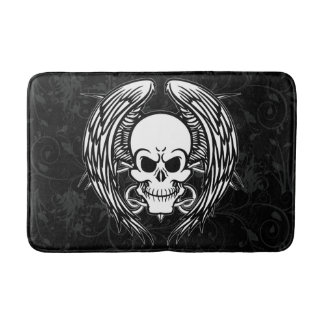 Grinning Tattoo Skull and Wings with Tribal Bath Mats