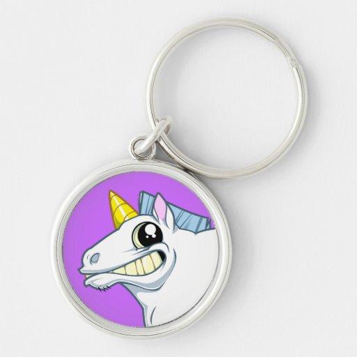 Grinning Unicorn Keychain
