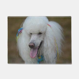 Grinning White Standard Poodle Doormat