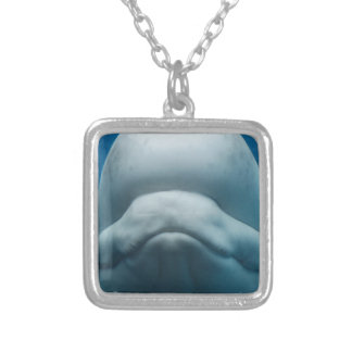Grinning White Whale Square Pendant Necklace