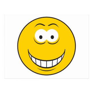 Grinning Yellow Smiley Face Post Card