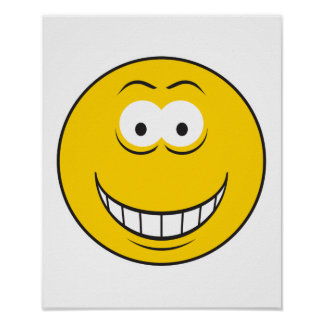 Grinning Yellow Smiley Face Posters
