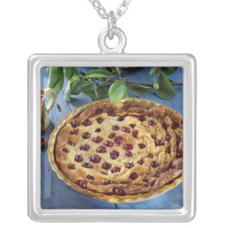 Griotte cherry clafoutis For use in USA Silver Plated Necklace