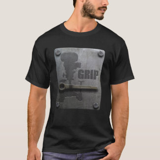 Grip Black T-Shirt - Metal Plate design