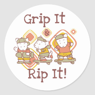 Grip It and Rip It Skateboarding Round Stickers
