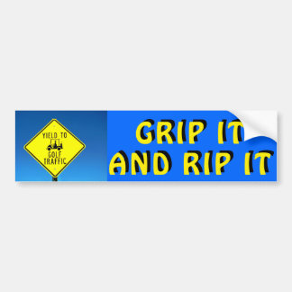 Grip it and Rip Yellow and Black - Golf Cart Bumper Sticker