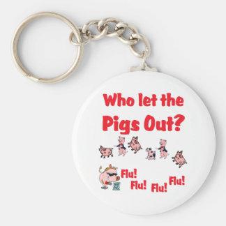 ¿Gripe 2009 de los cerdos - quién dejó los cerdos  Llavero Redondo Tipo Pin