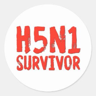 Gripe aviar del SUPERVIVIENTE H5N1 Pegatina Redonda