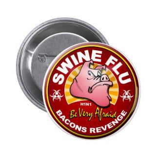 ¡Gripe de los cerdos - venganza de los tocinos! Pin Redondo De 2 Pulgadas