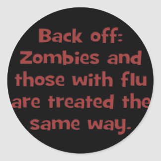 Gripe del zombi (sq) pegatinas redondas