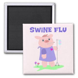 Gripe divertida de los cerdos imán cuadrado