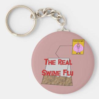 Gripe real de los cerdos llavero redondo tipo pin