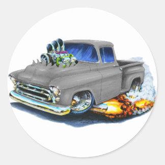 Gris 1957 de la recogida de Chevy Pegatina Redonda