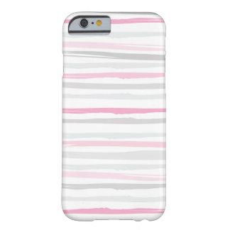 Gris abstracto del rosa del modelo de la raya de funda de iPhone 6 barely there