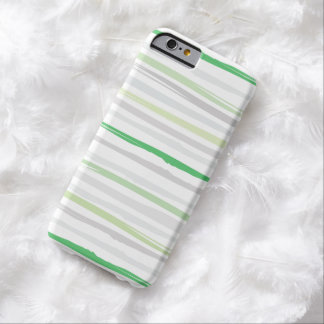 Gris abstracto del verde del modelo de la raya de funda de iPhone 6 barely there