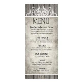 Gris afiligranado de madera rústico del menú el invitaciones personales