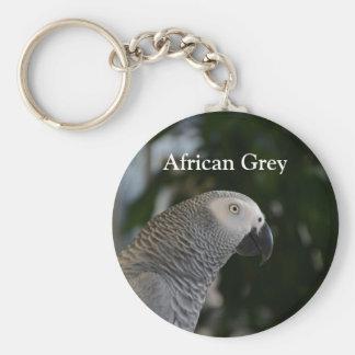 Gris africano pacífico llavero redondo tipo pin