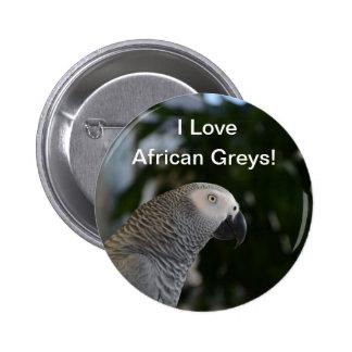 Gris africano pacífico pin redondo 5 cm