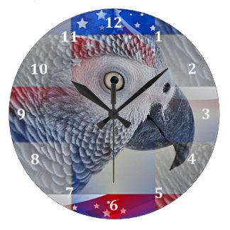 Gris africano patriótico reloj redondo grande