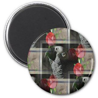 Gris africano y rosas rojos geométricos imán redondo 5 cm