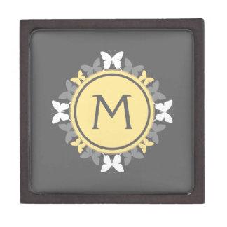 Gris amarillo blanco del monograma de la guirnalda caja de joyas de calidad