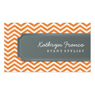 Gris anaranjado de la raya fresca del galón de la plantillas de tarjetas de visita