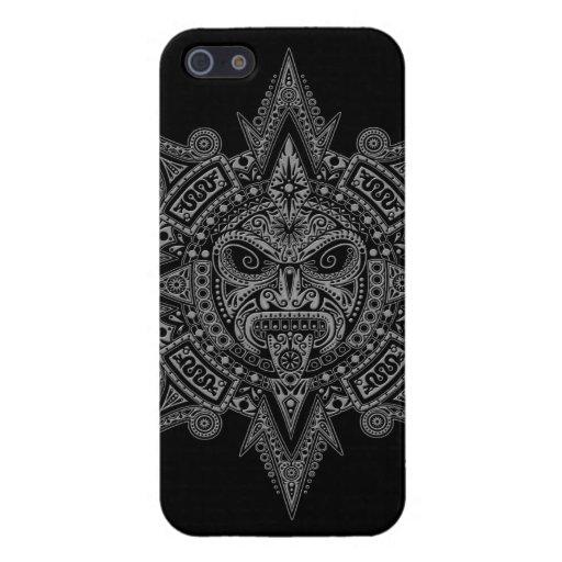 Gris azteca de la máscara de Sun en negro iPhone 5 Fundas