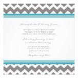 Gris azul Chevron de las invitaciones del boda Comunicados Personalizados