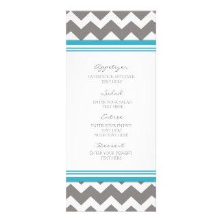 Gris azul Chevron del menú del boda Lonas
