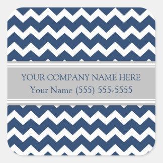 Gris azul Chevron del nombre de Business Custom Pegatina Cuadrada