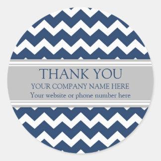 Gris azul Chevron del nombre de Business Thank You Pegatina Redonda
