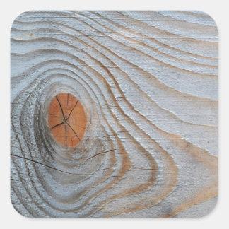 Gris azul de la textura de madera pegatina cuadrada