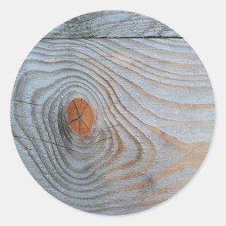 Gris azul de la textura de madera pegatina redonda