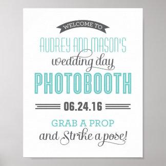 Gris azul del boda de la foto de la cabina de la a póster