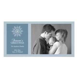 Gris azul del copo de nieve del navidad de la tarj tarjetas con fotos personalizadas