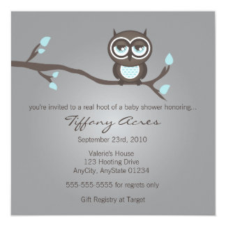 Gris, azul e invitación del búho de Brown Invitación 13,3 Cm X 13,3cm