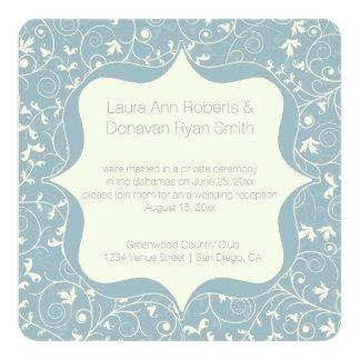 Gris azul polvoriento y recepción floral de marfil invitación 13,3 cm x 13,3cm