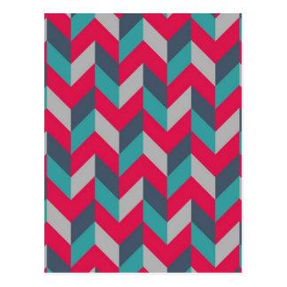 Gris azul rojo de las rayas geométricas de la rasp tarjetas postales