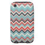 Gris azul rojo tribal azteca del modelo de zigzag  tough iPhone 3 protector