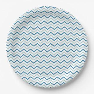 Gris azul y blanco Chevron Plato De Papel De 9 Pulgadas