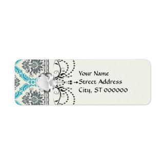 gris azul y damasco elegante poner crema etiqueta de remite