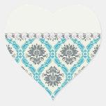 gris azul y damasco elegante poner crema pegatinas corazon
