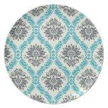 gris azul y damasco elegante poner crema plato