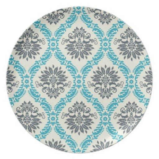 gris azul y damasco elegante poner crema plato para fiesta