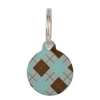 Gris azul y tela escocesa de tartán de Brown Placa Para Mascotas