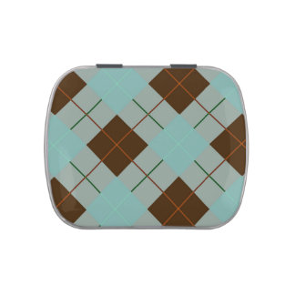 Gris, azul y tela escocesa de tartán de Brown Frascos De Dulces
