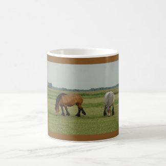 Gris belga del Caballo-uno del proyecto, un marrón Tazas