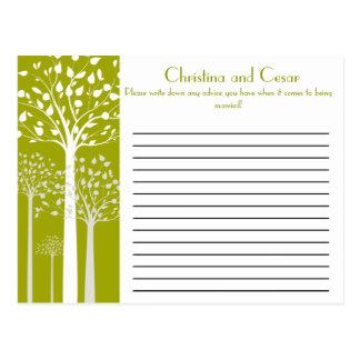 Gris blanco del consejo de los árboles verdes mode tarjeta postal