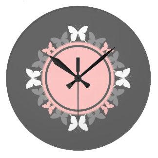 Gris blanco del rosa color de rosa de la guirnalda reloj redondo grande
